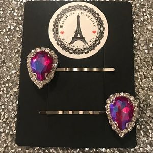 Accessories - Perfect Hot Pink Crystal Rhinestone Hair clips